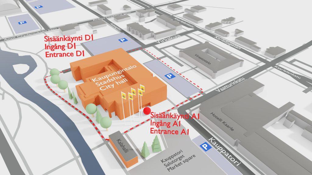 Kokkolan kaupungintalo 3D ilmakuva