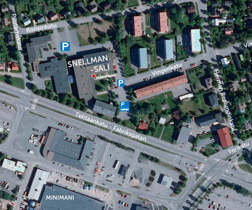 Snellman-salin ympäristöstä löytyy pysäköintitilaa ajoneuvoille