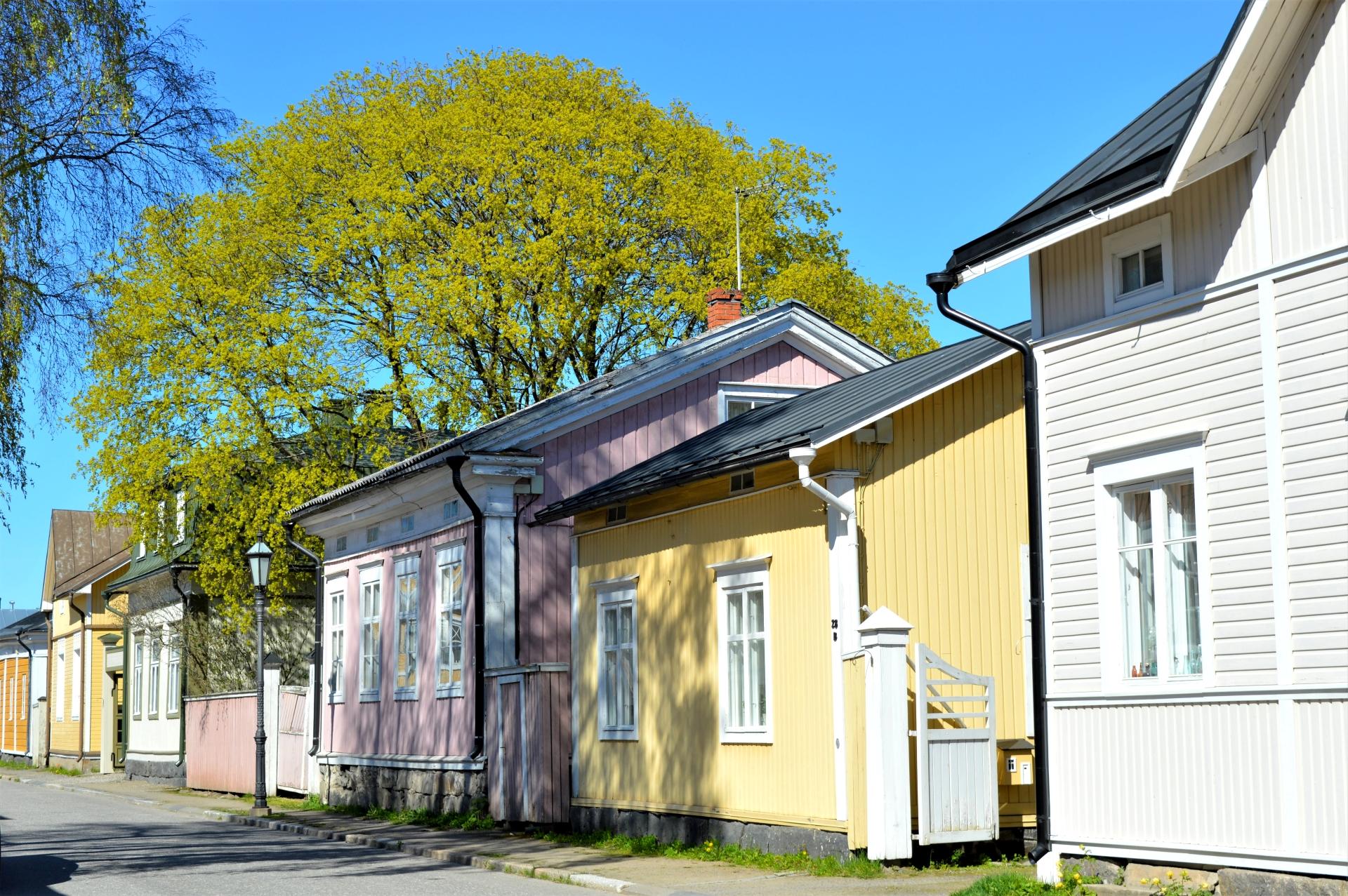Kokkolan Vanhakaupunki Neristanin pastellinsävyiset talot seisovat kadulla vieretysten. Neristanin kesä on puhkeamassa kukkaan, puiden lehdet ovat juuri vihertyneet ja aurinko luo varjoja vanhoihin rakennuksiin.