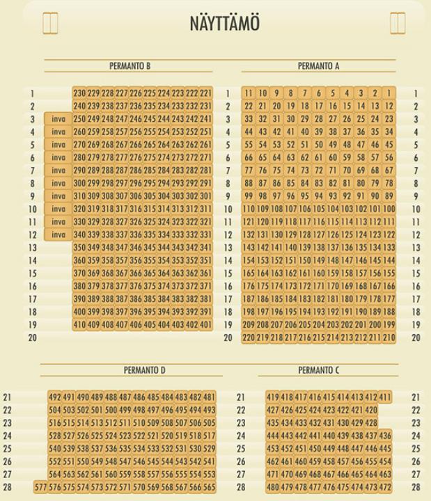 Snellman-salin istumapaikkakartta permanto-osineen A-D