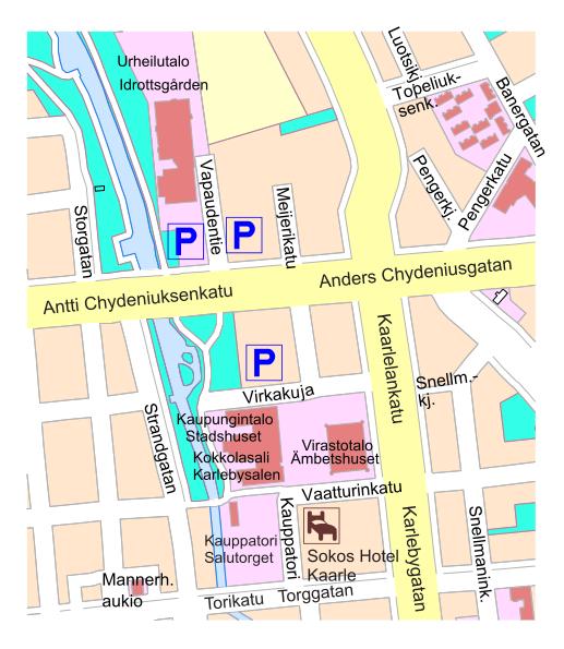 Kaupungintalon ympäristössä on paljon parkkitilaa. Erityisesti läheisen Urheilutalon pihapiirissä on isot parkkialueet.