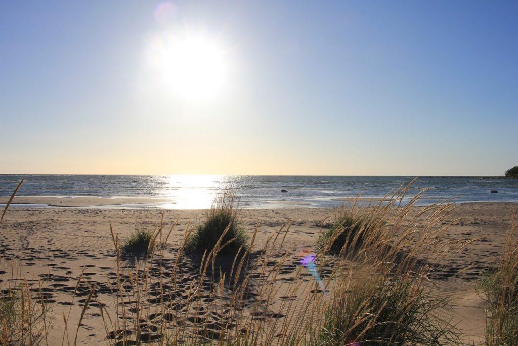 Ohtakarin hiekkaranta ilta-auringossa
