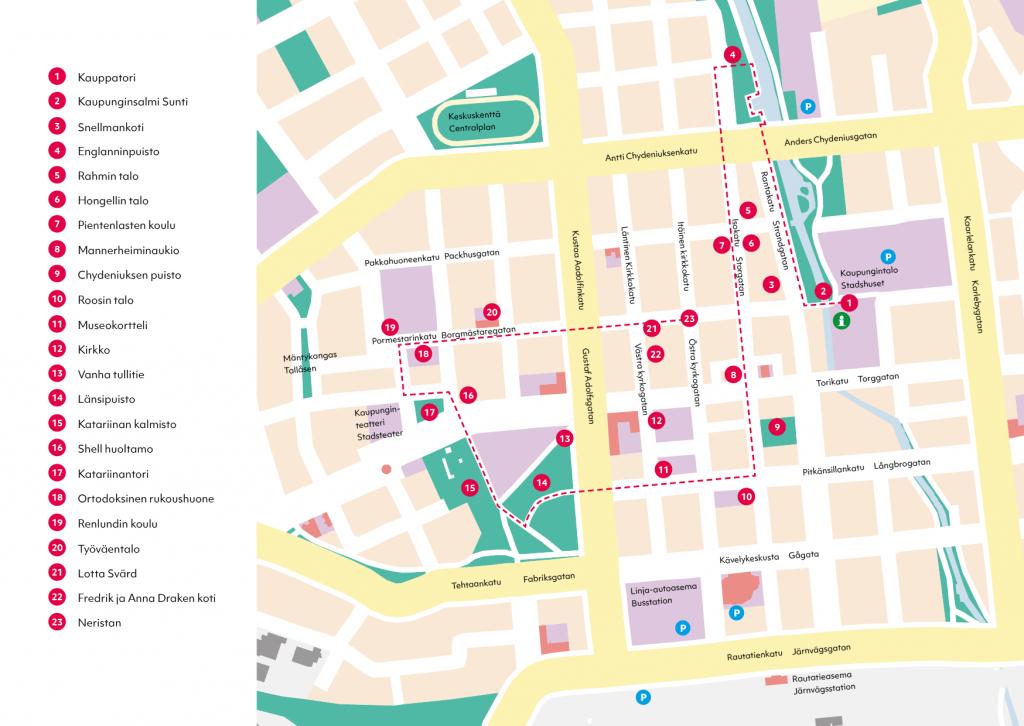 Karttaan on merkitty kohtein kävelykierrosehdotelma Kokkolan vanhaankaupunkiin.